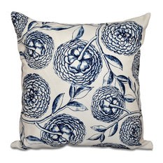 "Antique Flowers, Floral Outdoor Pillow, Navy Blue, 18""x18"""
