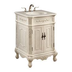 elegant 24 single bathroom vanity set antique white by elegant white finish - Single Bathroom Vanity