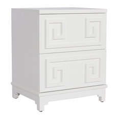 Lucio Hollywood Regency Greek White Lacquer Mirror Nightstand   Nightstands  And Bedside Tables