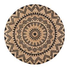 Jute Round Tribal Circle Black Print, 4' Round