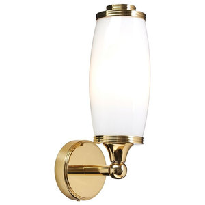 Bathroom Single Wall Light, Polished Brass