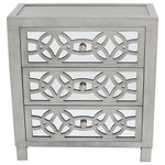 """River of Goods - 28"""" Glam Slam 3-Drawer Mirror Chest, Pewter - Glam it up! This chest has beautiful mirror front drawers with a  colored finish. This three drawer wood and glass cabinet will add a designer touch to any room. Made of wood, MDF and glass."""