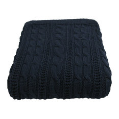 Cotton Cable Throw, Navy
