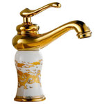 Bathselect - Roubaix Single Handle Gold Finish Bathroom Sink Faucet - The Roubaix Bathroom Sink Faucet is a Single Handle Faucet that comes in Gold & White Finish along with a Hot/Cold Water Mixer. The Roubaix Single Handle Gold Finish Bathroom Sink Faucet is Deck-Mounted and requires Single hole for Installation. The Roubaix Single Handle Gold Finish Bathroom Sink Faucet is having a Ceramic Valve core and is made of Brass.