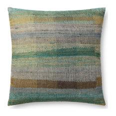 """Green/Multi 22""""x22"""" Handwoven Natural Blend Pillow"""