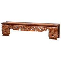 """88"""" Ulderico Bench Hand Carved Solid Teak Wood One of a Kind Distressed"""