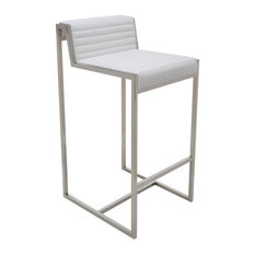 Zola Leather Bar Stool with Polished Stainless Steel Frame, White Leather