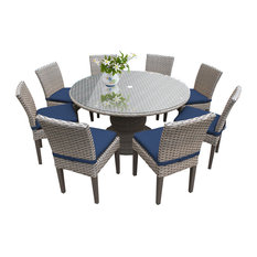 """TKC Oasis 9 Piece 60"""" Round Glass Top Patio Dining Set in Navy"""