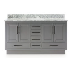 """Kendall Gray Vanity With Plinth Base, 60"""""""
