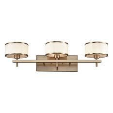 Utica 3 Light Vanity in Satin Brass with Opal White Glass