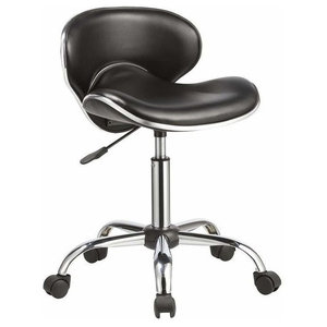 Elegant Swivel Bar Stool Upholstered, Black Faux Leather, Curved Back and Seat
