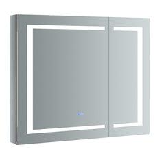 "Spazio Bathroom Medicine Cabinet With LED Lighting and Defogger, 36""x30"""