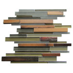 "Tilesbay - 12""x12"" Ambergris Reed Glass Mosaic, Set of 10 - Modern glass meets antique teak wood with cool grey and green tones against deep brown-black exposed oiled teak creating a dramatic custom feel of mixed wood and glass to add customization to any tile project. Teak is safe in wet locations."