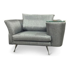 Cafe Unique Chair With Side Table, Gray, Right