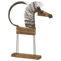 """25"""" Long Abstract Sculpture Wire Horse Small Body Wood"""