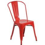 "Flash Furniture - Red Metal Indoor-Outdoor Stackable Chair - Completely transform your living or restaurant space with this vintage style chair. Adding colorful chairs can rev up any setting. The versatility of this chair easily conforms in different environments. Chairs are lightweight and easily stack for storing. A cross brace underneath the seat adds extra stability and features plastic caps that prevent the finish from scratching when stacked. The frame is designed for all-weather use making it a great option for indoor and outdoor settings. For longevity, care should be taken to protect from long periods of wet weather. The legs have protective floor glides that prevent damage to flooring. So whether you're using this chair for your kitchen, patio or bistro, it is sure to liven up your decor. Overall Dimension:18""W x 20""D x 33""H and Seat Size: 12""W x 14""D, Seat Height:17.5""H."