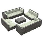 Urban Furnishing - Bermuda Outdoor Patio Furniture Sofa Sectional, 11-Piece Set, Beige - - Designer Gray Wicker Pattern
