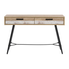 CorLiving LFF-120-E Entryway Table With Splayed Legs Distressed Beige/White