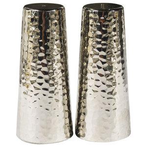Martele Salt and Pepper Shakers, Set of 2, Nickel