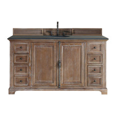 "Providence 60"" Single Vanity Cabinet, Driftwood, 2CM Black Rustic Stone Top"