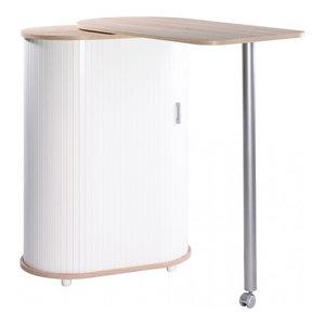 Kitchen Island With Rotating Table and Storage Cabinet, Beech and White