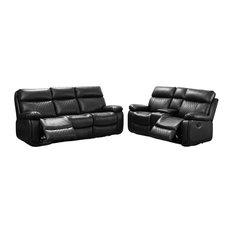RN Furnishings Samara 2-PC Reclining Faux Leather Sofa Set - Black