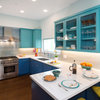 Blue and Aqua Cabinets Make a Splash in a Colorful Kitchen