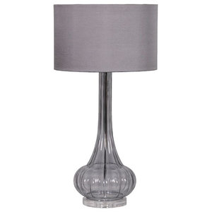 Smoked Grey Glass Table Lamp with Grey Shade