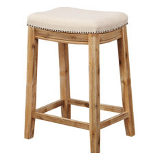 Saddle Top Wooden Counter Stool With Nailhead Accents Brown And Beige