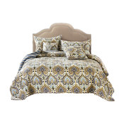 Bohemian Spades Quilted Bedspread Set, Queen