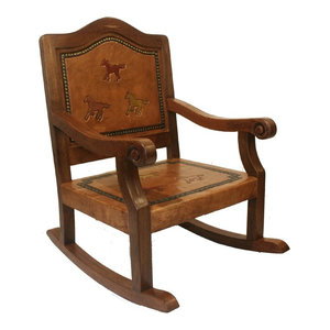 Acme Sharan Rocking Chair Fabric And Cherry Traditional