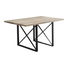 Dining Table With Metal Base, Dark Taupe/Black