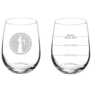 cd8e997c59e Pair of 17 Oz Stemless Wine Glass, 2 Married Couple Mr. and Mrs ...