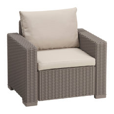 California Outdoor Seating Resin Patio Armchair With Cushion, Cappuccino