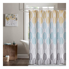 Madison Park Essentials Printed Shower Curtain With Yellow And Aqua MPE70-397