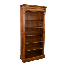 Legacy Solid Mahogany wood Open Bookcase, Light Brown Walnut