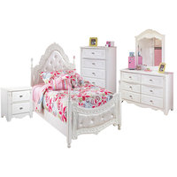 Ashley Exquisite 5-Piece Tufted Poster Bedroom Set, White, Twin