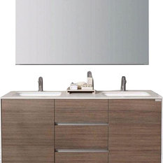 "Artevit Adorno Bathroom Vanity, 59"", Oak"