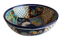 Janitzio Round Ceramic Talavera Vessel Sink