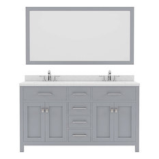 60-inch Double Vanity Gray Quartz Top Square Sink Brushed Nickel Faucet Mirror