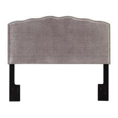 Pemberly Row Velvet Upholstered Headboard In Silver