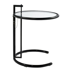 Mason Mid-Century Side Table With Ajdustable Height, Black