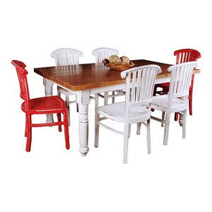 7-Pc Whitewashed Dining Set