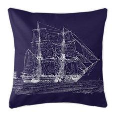 Vintage Ship Pillow, White on Navy