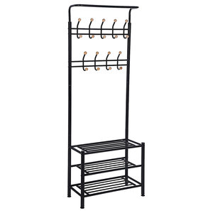 Modern Stylish Clothes Stand, Metal With 3 Open Shelves and 18-Hook, Black
