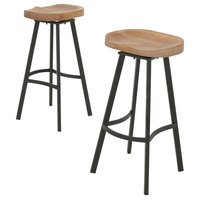 GDF Studio Shea wood and iron rustic Swivel Bar Stool, Set of 2