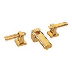 paul decorative products capella all metal widespread bathroom faucet satin gold bathroom sink
