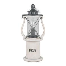 Gibson Lantern Table Lamp, White Wood
