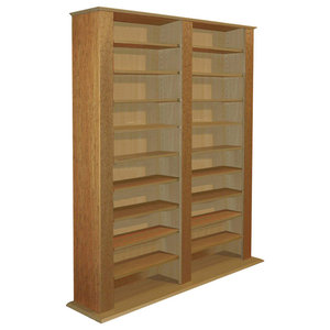 Contemporary Bookcase Storage Shelf in Oak Finish Particle Board with 20 Shelves
