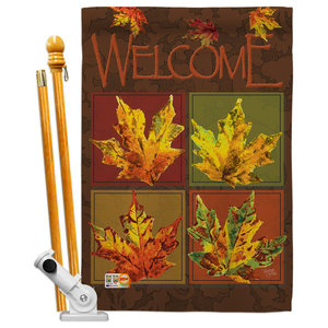 Harvest Autumn Fall Leaves Collage 2 Sided Vertical Impression House Flag Contemporary Flags And Flagpoles By Breeze Decor Houzz